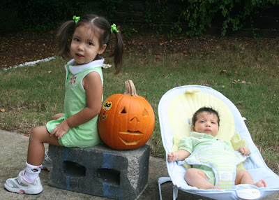Gabi and Bella with our pumpkin