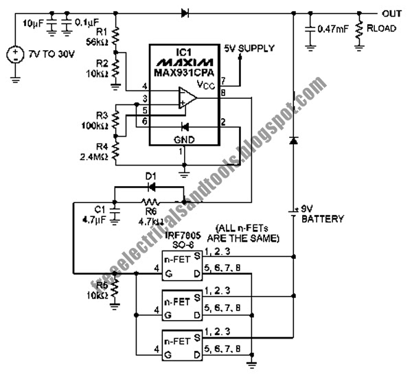 free schematic diagram  automatic battery backup circuit