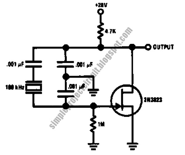 simple project circuit  simple stable low frequency crystal oscillator circuit