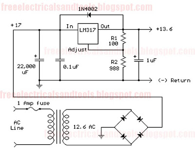 Variable Voltage Regulator Circuit Using LM317T Wiring
