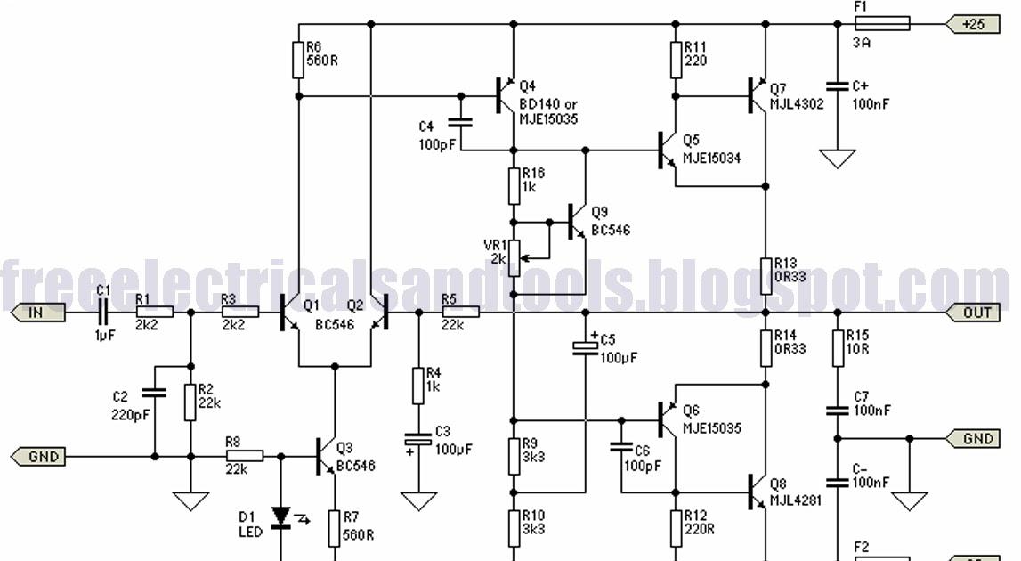 Automotif Wiring Diagram  25w Hi Fi Power Amplifier Circuit