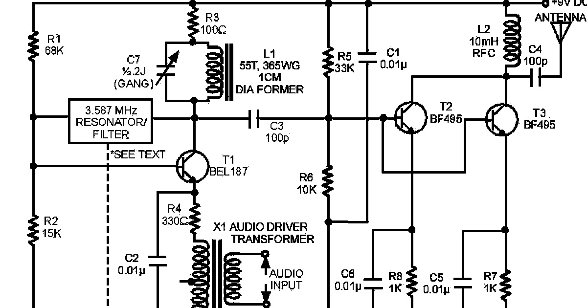 free schematic diagram  am radio circuit using transistor