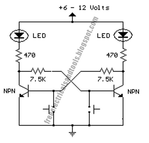 Set or Reset Flip Flop Circuit diagram schematic