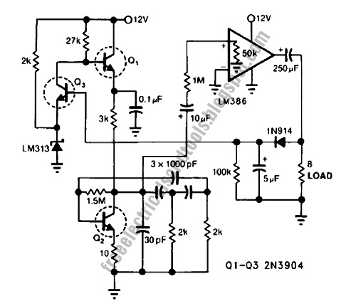 free schematic diagram  phase shift oscillator circuit using lm386