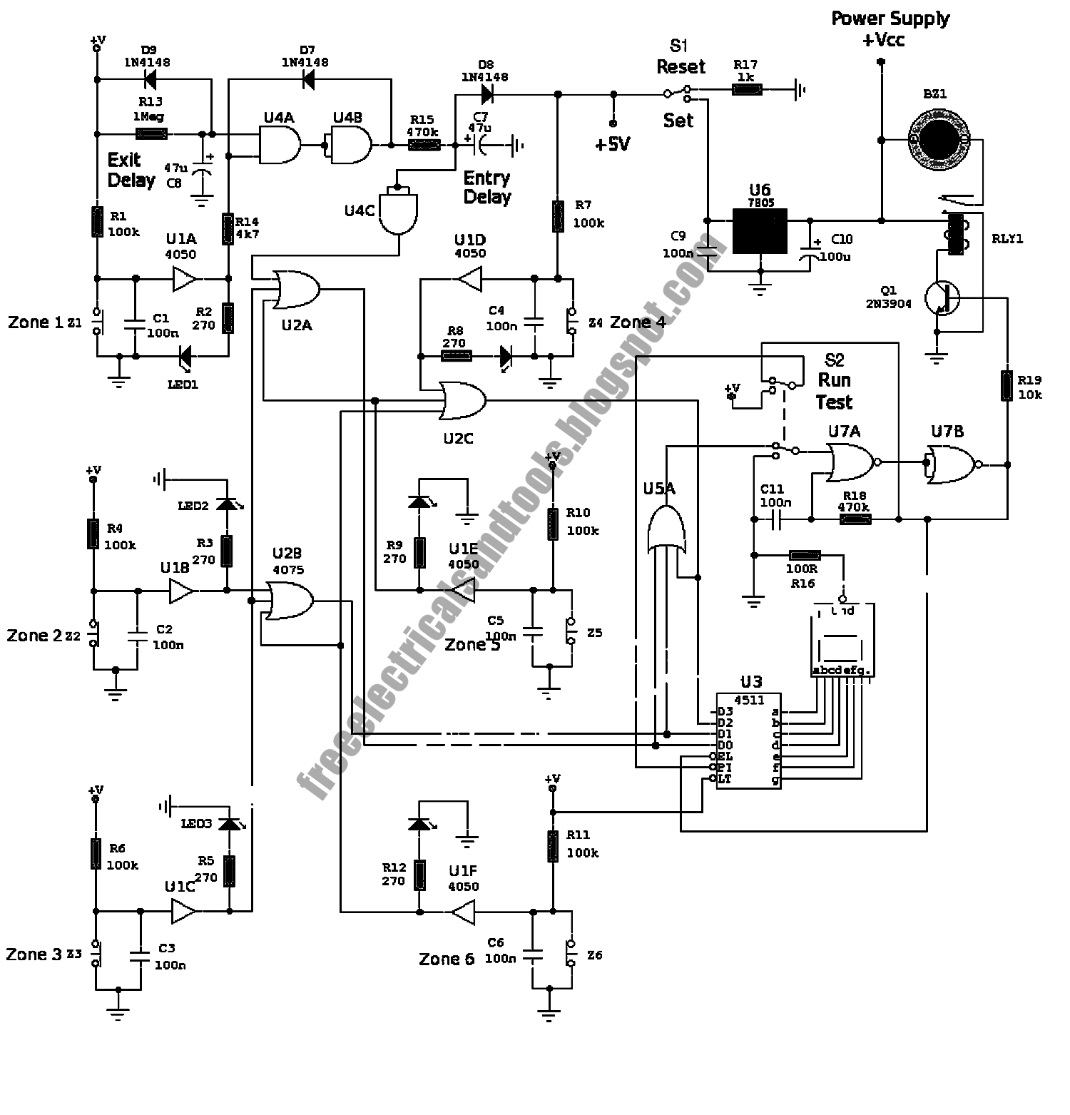 free schematic diagram  zone alarm 6 with seven segment circuit