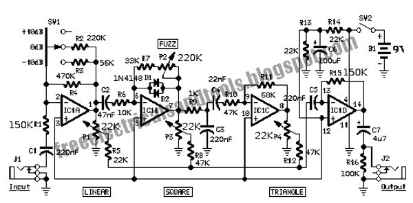 free schematic diagram  fuzz distortion circuit with wave shaper