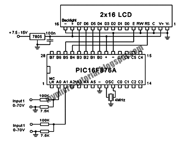 control dual channel 70v voltmeter using pic