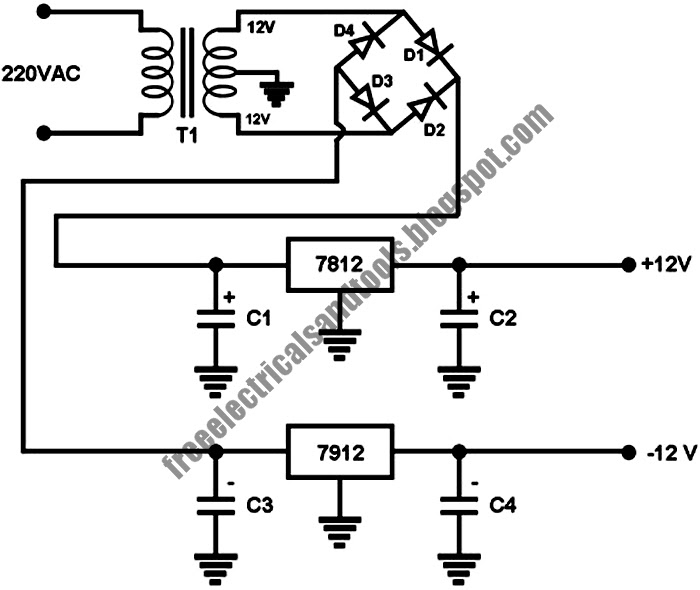 free schematic diagram  negative  positive dc voltage power