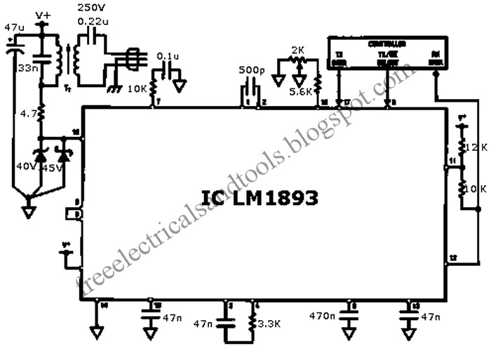 free schematic diagram  lm1893 for power line modem circuit