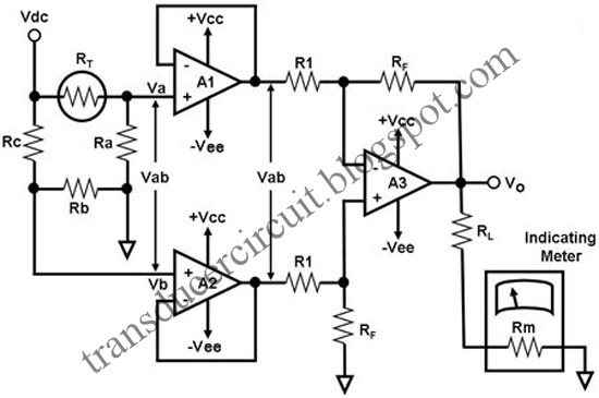 differential instrumentation amplifier circuit using bridge transducer