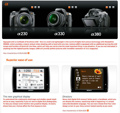 Sony new Alpha 230, 330 and 380 DSLR models hyped with HDMI output