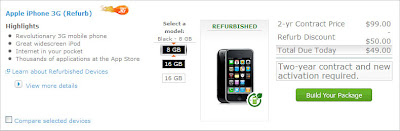 AT&T with 8GB iPhone 3G for $49