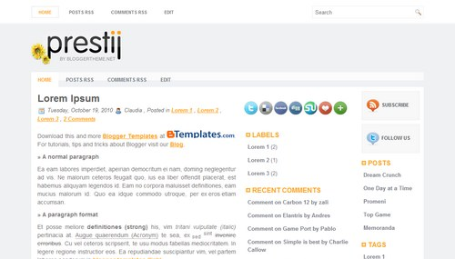 Free Blogger Templates Download: Prestij
