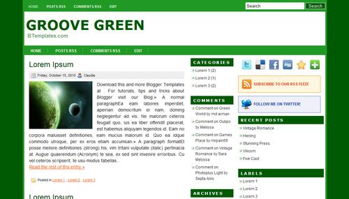 Free Blogger Templates Download: Groove Green