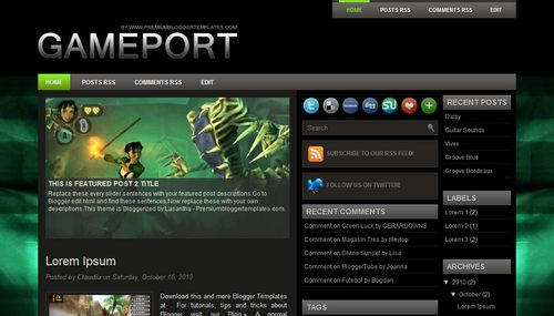 Free Blogger Templates Download: Game Port