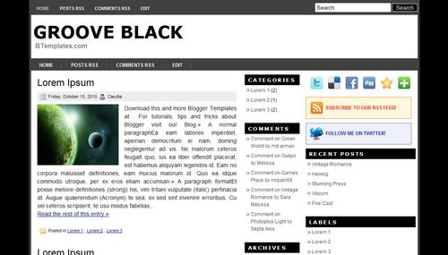 Free Blogger Templates Download: Groove Black