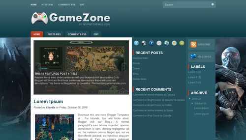 Free Blogger Templates Download: Game Zone