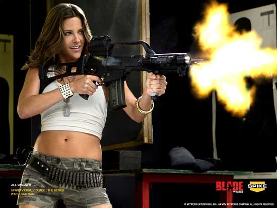jill wagner pictures. Jill Wagner with a gun