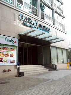 The front of our hotel, the Dormy In Seoul