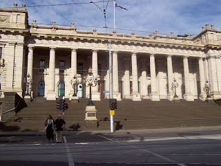 The Victorian parliament building, built like a Greek or Roman temple