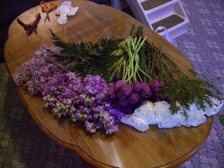 All the pretty flowers cut and cleaned!