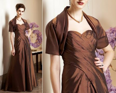 A stunning copper colored mother of the bride dress
