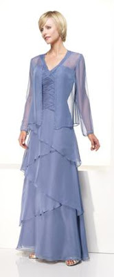 A purple ruffled mother of the bride dress
