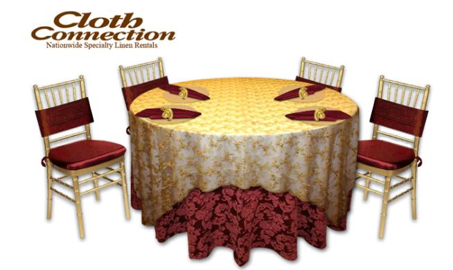 A Phantom wedding banquet table setup created by the Cloth Connection table