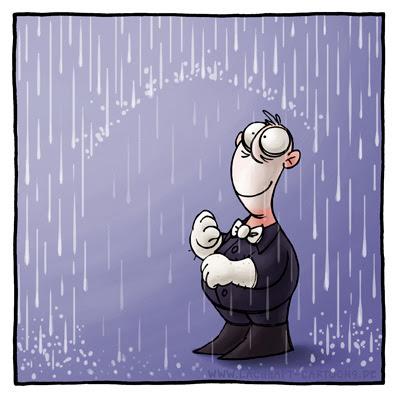 Pantomime Regen Schirm trocken nass paradox Kunststück Trick Clown Zauberer Cartoon Cartoons Witze witzig witzige lustige Bildwitze Bilderwitze Comic Zeichnungen lustig Karikatur Karikaturen Illustrationen Michael Mantel lachhaft Spaß Humor