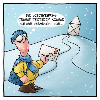 LACHHAFT Cartoon Weihnachten Weihnachtscartoon Post Briefträger Postbote Brief das Haus vom Nikolaus Schnee Cartoon Cartoons Witze witzig witzige lustige Bildwitze Bilderwitze Comic Zeichnungen lustig Karikatur Karikaturen Illustrationen Michael Mantel lachhaft Spaß Humor