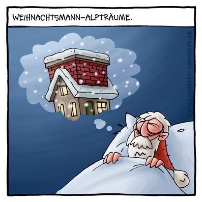 Weihnachtsmann Alptraum Traum Winter Schornstein Haus unverschämt Cartoon Cartoons Witze witzig witzige lustige Bildwitze Bilderwitze Comic Zeichnungen lustig Karikatur Karikaturen Illustrationen Michael Mantel lachhaft Spaß Humor