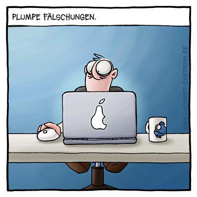 Computer Laptop Notebook Apple Macbook Pro Powerbook Apfel Birne Logo Schreibtisch Büro Cartoon Cartoons Witze witzig witzige lustige Bildwitze Bilderwitze Comic Zeichnungen lustig Karikatur Karikaturen Illustrationen Michael Mantel lachhaft Spaß Humor