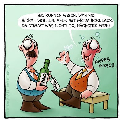 Weinprobe Vino betrunken besoffen beschwippst Weinglas Scherben Bordeaux  Cartoon Cartoons Witze witzig witzige lustige Bildwitze Bilderwitze Comic Zeichnungen lustig Karikatur Karikaturen Illustrationen Michael Mantel lachhaft Spaß Humor