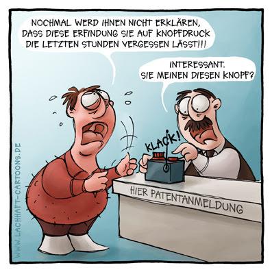 Patentamt Erfindungen vergessen Patent anmelden Beamter Büro Cartoon Cartoons Witze witzig witzige lustige Bildwitze Bilderwitze Comic Zeichnungen lustig Karikatur Karikaturen Illustrationen Michael Mantel lachhaft Spaß Humor