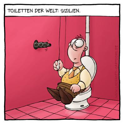 Klowitz Toilettenwitz WC Mafia Sizilien Italien Mafiosi Gewehr erschießen Cartoon Cartoons Witze witzig witzige lustige Bildwitze Bilderwitze Comic Zeichnungen lustig Karikatur Karikaturen Illustrationen Michael Mantel lachhaft Spaß Humor