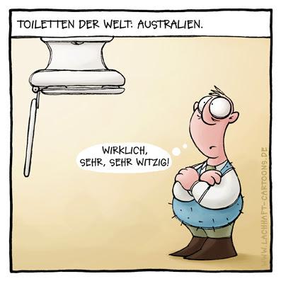Klowitz Toiletten der Welt Australien überkopf verkehrtherum Cartoon Cartoons Witze witzig witzige lustige Bildwitze Bilderwitze Comic Zeichnungen lustig Karikatur Karikaturen Illustrationen Michael Mantel lachhaft Spaß Humor
