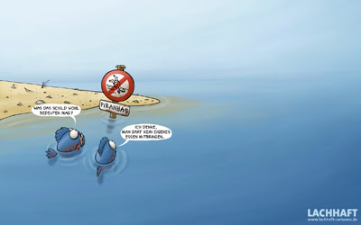 Lachhaft Cartoons Desktop image Wallpaper Schreibtisch hintergrund Piranhas Picknick Schild essen mitbringen Strand Meer download kostenlos gratis free