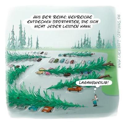LACHHAFT Cartoon Neureiche entdecken Sportarten Bäume fällen Parkplatz Autos verschrotten gelangweilt Tennis Golf Cartoons Witze witzig witzige lustige Bildwitze Bilderwitze Comic Zeichnungen lustig Karikatur Karikaturen Illustrationen Michael Mantel Spaß Humor