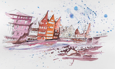 Michael Mantel für die Bilderwumme Illustration Lüneburg alter Hafen Stint am Stintmarkt Aquarell