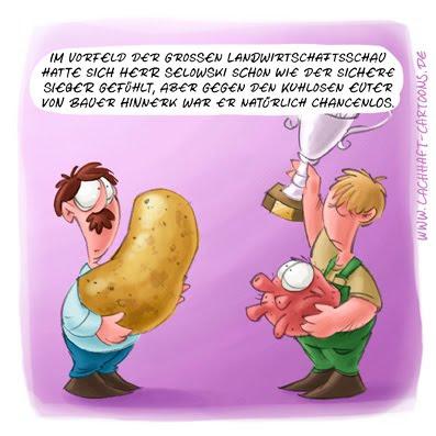 LACHHAFT Cartoon Herr Selowski Kartoffel Landwirstschaftsausstellung Messe Gewinn Pokal Euter Kuh Pokal Preis Sieger dumm die dümmsten Bauern haben die dicksten Kartoffeln Cartoons Witze witzig witzige lustige Bildwitze Bilderwitze Comic Zeichnungen lustig Karikatur Karikaturen Illustrationen Michael Mantel Spaß Humor