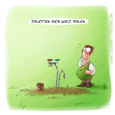 LACHHAFT Cartoon Toiletten der Welt Polen Klowitz klauen geklaut gestohlen Diebstahl Klischee Kleptomanie verschwunden Cartoons Witze witzig witzige lustige Bildwitze Bilderwitze Comic Zeichnungen lustig Karikatur Karikaturen Illustrationen Michael Mantel Spaß Humor