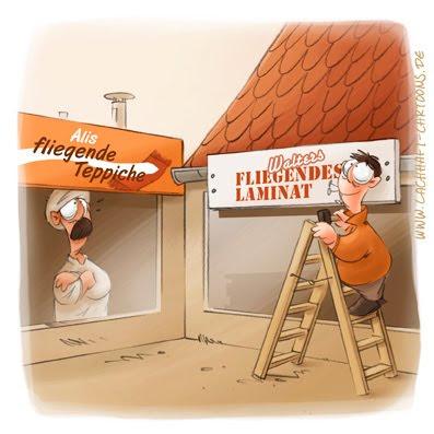 LACHHAFT Cartoon fliegender Teppich Laminat Konkurrenz Bodenbeläge Laden Geschäft Türke Schilder Cartoons Witze witzig witzige lustige Bildwitze Bilderwitze Comic Zeichnungen lustig Karikatur Karikaturen Illustrationen Michael Mantel Spaß Humor