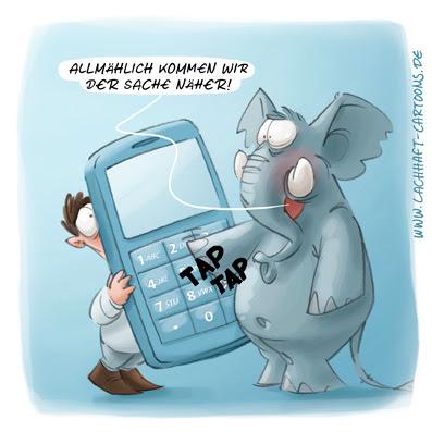 LACHHAFT Cartoon Elefant Handy Telefon mit extra großen Tasten Verkäufer Elektromarkt Elekrtofachmarkt Cartoons Witze witzig witzige lustige Bildwitze Bilderwitze Comic Zeichnungen lustig Karikatur Karikaturen Illustrationen Michael Mantel Spaß Humor