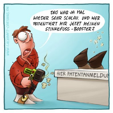 Patentamt Erfinder Erfindung patentieren lassen Stinkefuss Booster Pistole erschossen erstunken Gestank stinken Käsefüsse Mief dumm Beamter Cartoon Cartoons Witze witzig witzige lustige Bildwitze Bilderwitze Comic Zeichnungen lustig Karikatur Karikaturen Illustrationen Michael Mantel lachhaft Spaß Humor