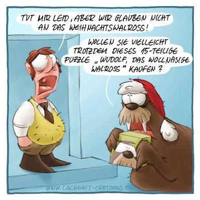 Weihnachtscartoons Weihnachten Weihnachtsmann Walross Vertreter nicht glauben Puzzle verkaufen Rudolf Wudolf das wollnasige  Cartoon Cartoons Witze witzig witzige lustige Bildwitze Bilderwitze Comic Zeichnungen lustig Karikatur Karikaturen Illustrationen Michael Mantel lachhaft Spaß Humor
