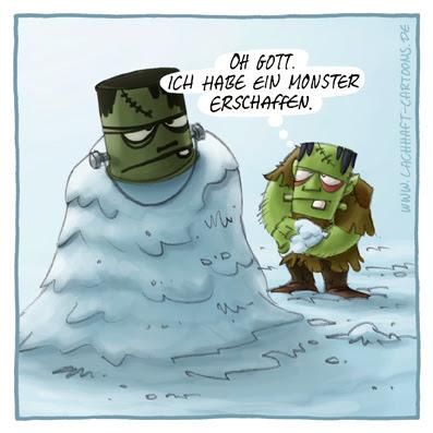 Schneemann bauen Winter Frankensteins Monster Herman Munster Ebenbild Cartoon Cartoons Witze witzig witzige lustige Bildwitze Bilderwitze Comic Zeichnungen lustig Karikatur Karikaturen Illustrationen Michael Mantel lachhaft Spaß Humor