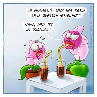 Hannibal die fleischfressende Pflanze Tod tot sterben gestorben Opa in den Himmel kommen Abfall Kompost Biomüll Quatsch Unsinn Cartoon Cartoons Witze witzig witzige lustige Bildwitze Bilderwitze Comic Zeichnungen lustig Karikatur Karikaturen Illustrationen Michael Mantel lachhaft Spaß schwarzer Humor