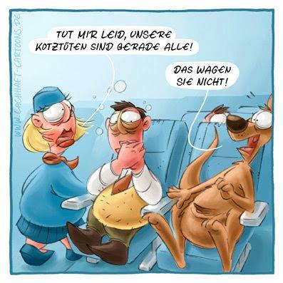 Übelkeit erbrechen kotzen Kotztüten übergeben Flugzeug fliegen schlecht werden Stewardess Flugbegleiterin Cartoon Cartoons Witze witzig witzige lustige Bildwitze Bilderwitze Comic Zeichnungen lustig Karikatur Karikaturen Illustrationen Michael Mantel lachhaft Spaß Humor
