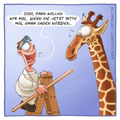 Giraffe Arzt Arztbesuch Behandlung Ah Mund auf Stock Hals erbrechen brechen kotzen sich übergeben Cartoon Cartoons Witze witzig witzige lustige Bildwitze Bilderwitze Comic Zeichnungen lustig Karikatur Karikaturen Illustrationen Michael Mantel lachhaft Spaß Humor
