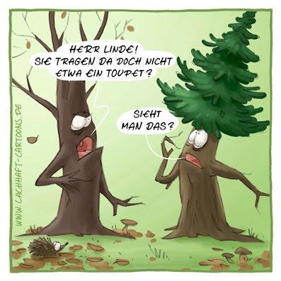 Herbst Bäume Laub Blätter verlieren Haare Toupet Fiffi Perücke Eitelkeit eitel Cartoon Cartoons Witze witzig witzige lustige Bildwitze Bilderwitze Comic Zeichnungen lustig Karikatur Karikaturen Illustrationen Michael Mantel lachhaft Spaß Humor